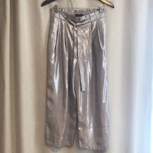 NEW Zara Liquid Silver Wide Leg Pants